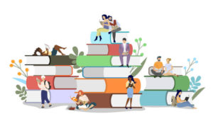 Diversity people readers male and female characters reading books while sitting on book pile, vector flat illustration. Literary festival concept for web banner, website page etc.